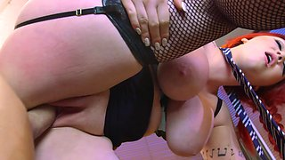 Huge boobs Harmony Reigns fucked in sexy fishnets
