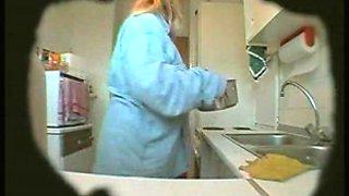 BBW Wife masturbates in kitchen (Hidden Cam)