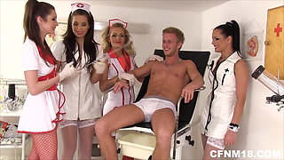 Four sexy nurses involve their patient in CFNM session