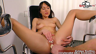 German masturbation with toilet brush and then gynecologist