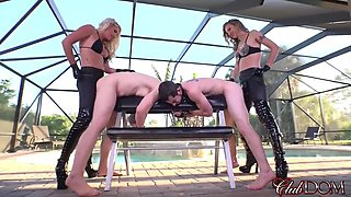 Mistress Cherry And Mistress Alina Are Strapon Drilling Their Slutslaves