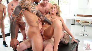 Cock hungry blonde gangbanged by five excited stallions