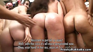 Three oiled up Spanish whores getting