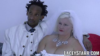 LACEYSTARR - Granny bride fed with cum after hole pounding