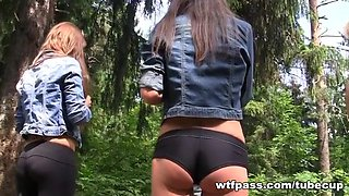 Student party in the woods