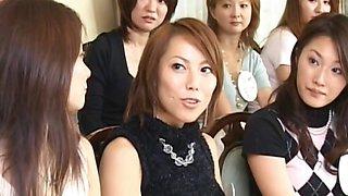 Asian slut shows panties at orgy