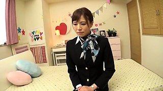 Elegant Oriental babe in uniform knows her way around a cock