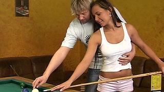 Horny teen sucking big cock on a billiard table