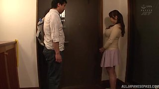 Busty Japanese neighbor Kazama Yumi takes off her clothes to tease