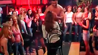 Hot babes abusing sexy stripper