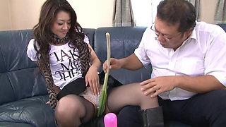 Kinky slut gets various vegetables shoves in her tight cunt