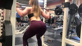 Sporty blonde Kenzie flashes her ass in public before going to the gym