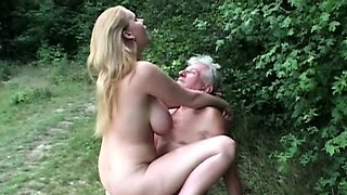 Study big jugged girl blowing horny grandpa