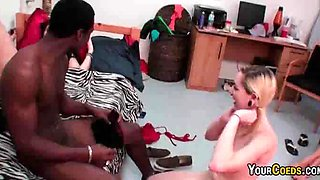 College interracial sex party in the dorm with hot blowjob