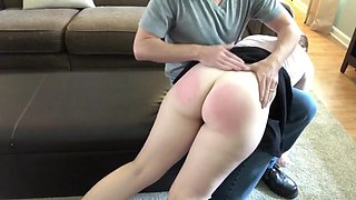 Step Daughter Spanked and POV Blowjob