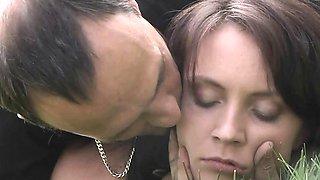 Teen innocent slave subjected to harsh outdoor bdsm