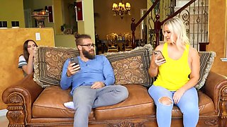 Curvy blonde forced to share boyfriend's dick with naughty bestie