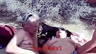Mature swinger slut lets 2 old men fuck her in the hills