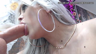 Blonde bitch smoking and fingering same time p5