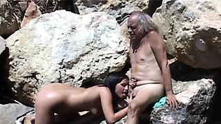 Brunette girl has a fetish with fucking old farts