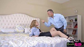 Spoiled stepdaughter Arya Fae gives a blowjob and rides hard phallus