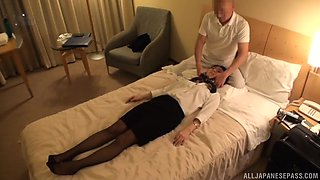 Japanese brunette Hoshino You gets striped and pussy abused