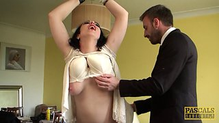 Chubby girl in a pretty dress spanked and fucked like a sub