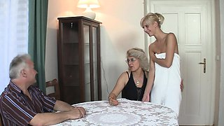 Old couple trick their son's blonde teenie