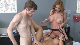 Two kinky ladies are undressing in the examination room to fuck