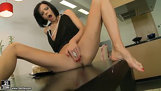 Brunette Liz presents a footjob with feet covered in cougar at her Birthday