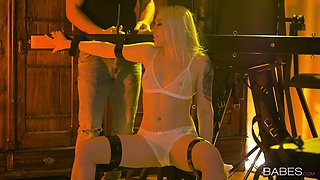 Tied up blonde Lola Taylor used and abused by her dirty husband