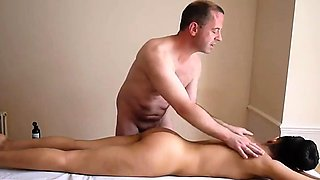 Erotic massage for naked young girl