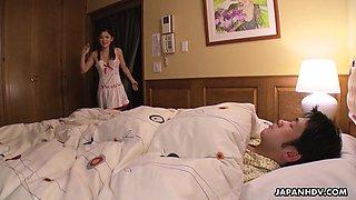 Lovely and naughty Japanese maid Anna Kimijima gives a sensual blowjob