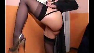 Submissive Italian slut in lingerie gangbanged