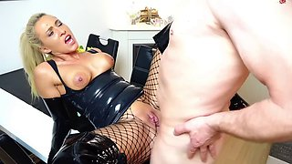 Daynia Latex sub pissed on before cumming for his mistress