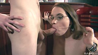Wife in glasses Olga Cabaeva getting pounded on the floor at a bar