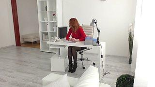 Redhead MILF secretary Eva Berger fucks her boss in the office