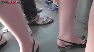 Thong of a sexy lassie seen in free upskirt video