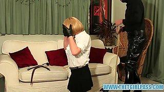 Master turns blonde TGirl slave Suzie into cock sucking cum slut after her ass spanking punishment