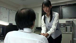 Asian secretary blows her boss and sits down on his dick