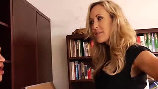 Gorgeous blonde MILF teacher shows tight body