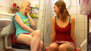 Two girls in bathroom