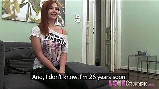 Love Creampie Naughty redhead in hardcore casting video