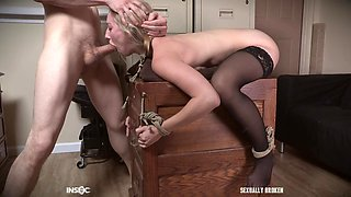Riley Reyes abused in the office while watching bondage porn