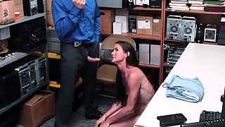 Tought shoplyfter swallow a hardcore LP Officer cock