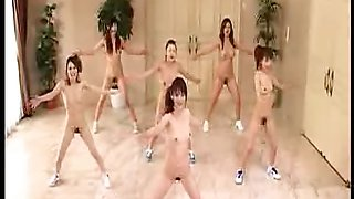 Japanese girls go nudist and workout with aerobics in the
