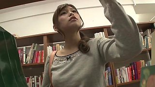 Japanese lesbian play in the library