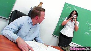 Big tit teacher Kerry Louise deep throats a cock