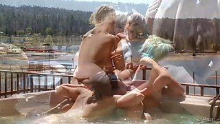 Two lesbian couples are having sex in a jacuzzi pool