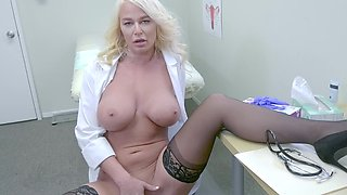 Horny mature doctor shows big jugs and rubs bald pussy